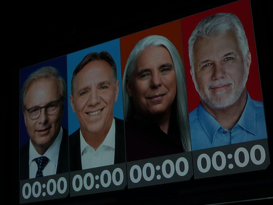 Un chronomètre est installé sous la photo de chacun d'entre eux.