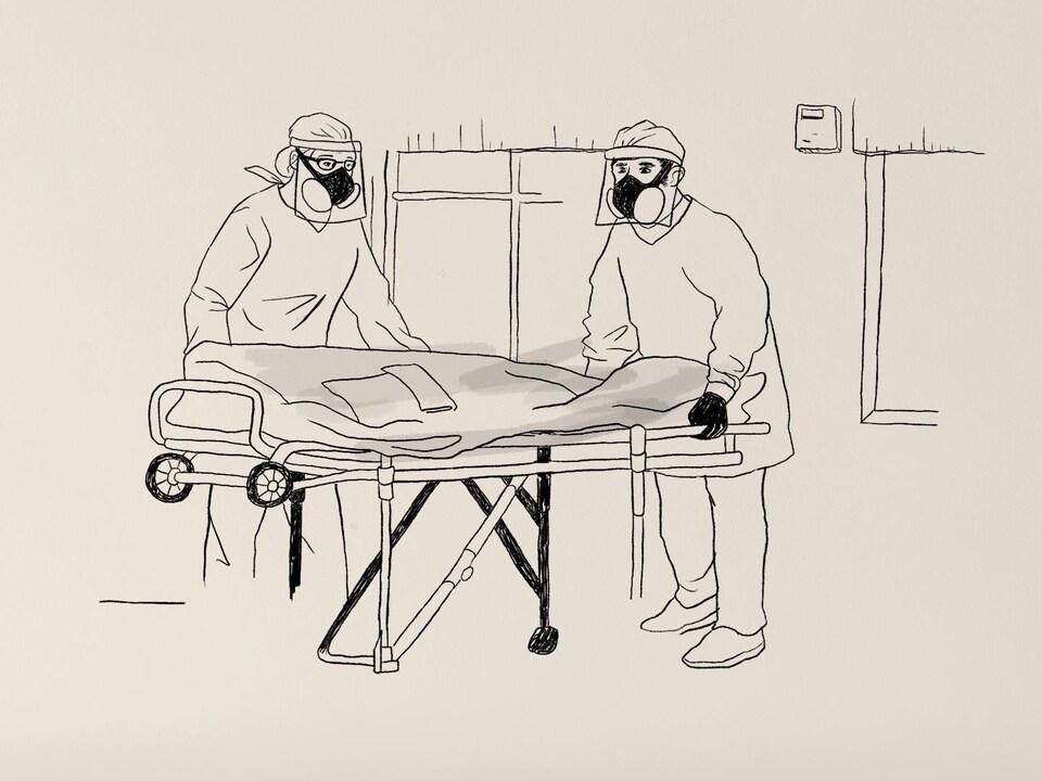 Deux hommes portant des masques de protection tiennent une civière sur lequel repose un corps