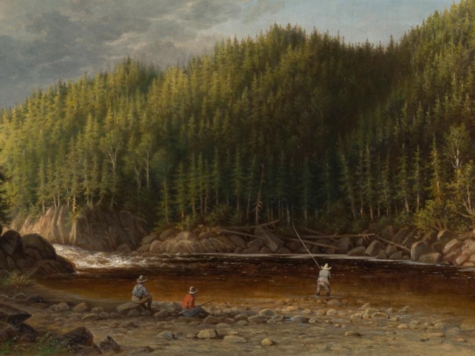 Fosse à saumon sur la rivière Godbout, en 1877, au coeur d'une forêt luxuriante