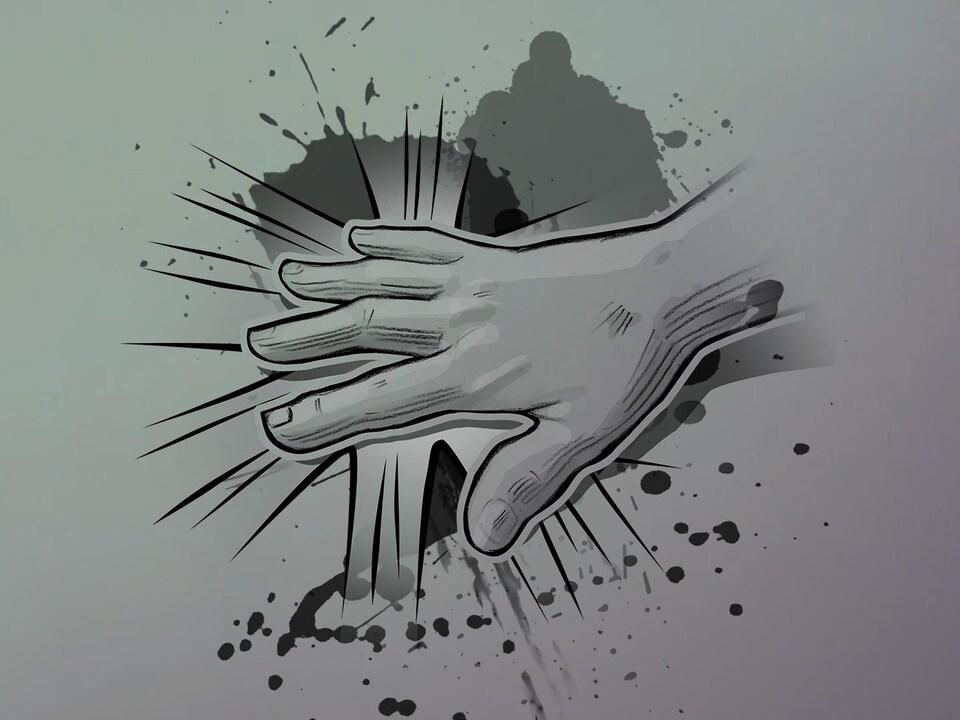 Illustration d'un poing qui fracasse une porte.