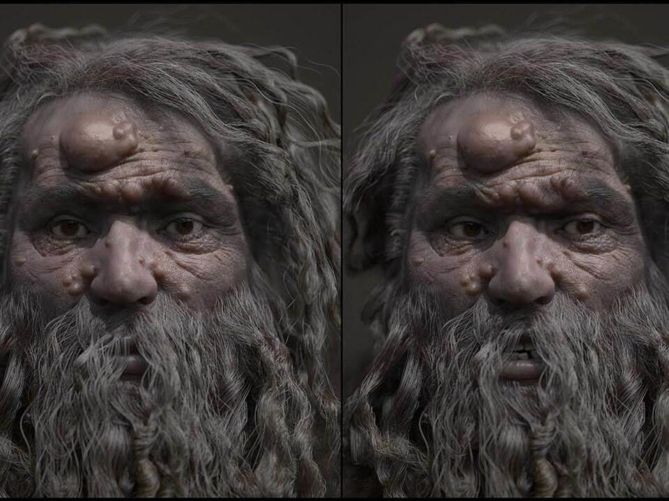 On voit le visage reconstitué, de face.