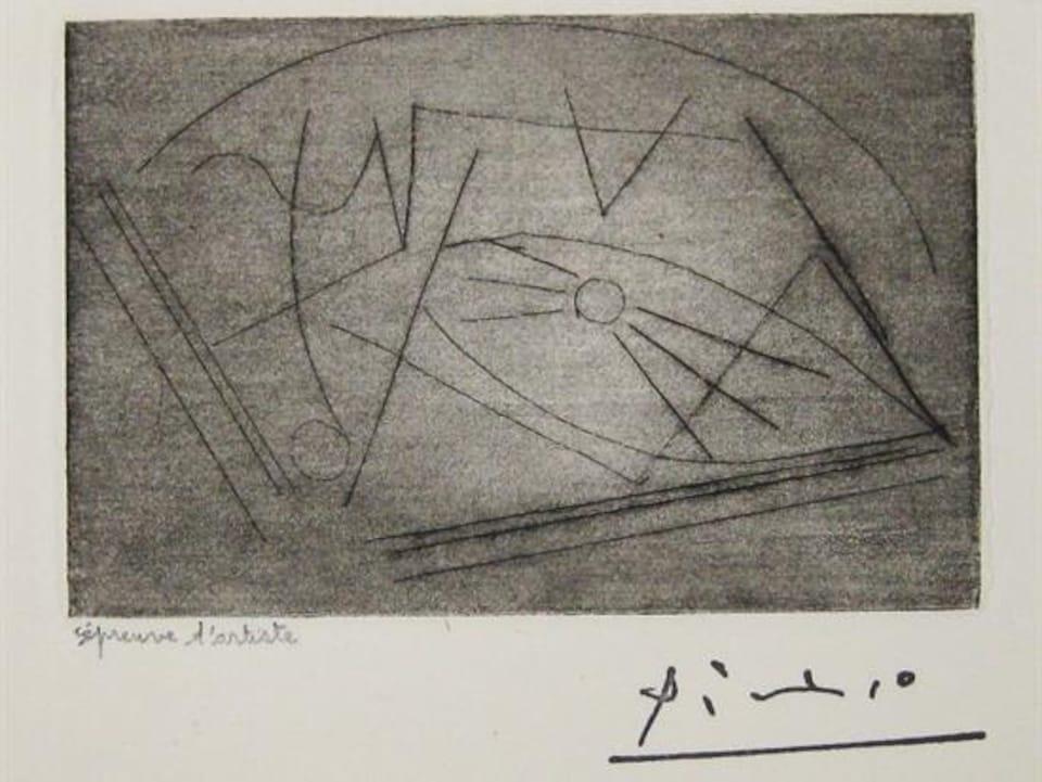 La Galerie Sylvain Fortier a récemment acquis cette lithographie de Picasso, « Guitare sur la table ».