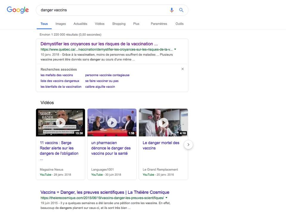 Résultat de Google pour la recherche «danger vaccins»