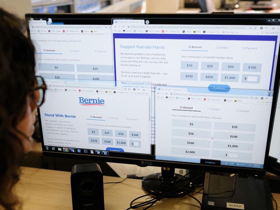 Une femme regarde sur un écran d'ordinateur plusieurs pages internet sur lesquelles les visiteurs sont invités à faire des dons d'argent pour des candidats politiques.