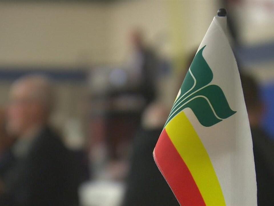 Un drapeau où on voit une bande blanche, une bande jaune et une bande rouge. Surimposée à gauche se trouve un dessin de longues racines avec un feuillu très grand.