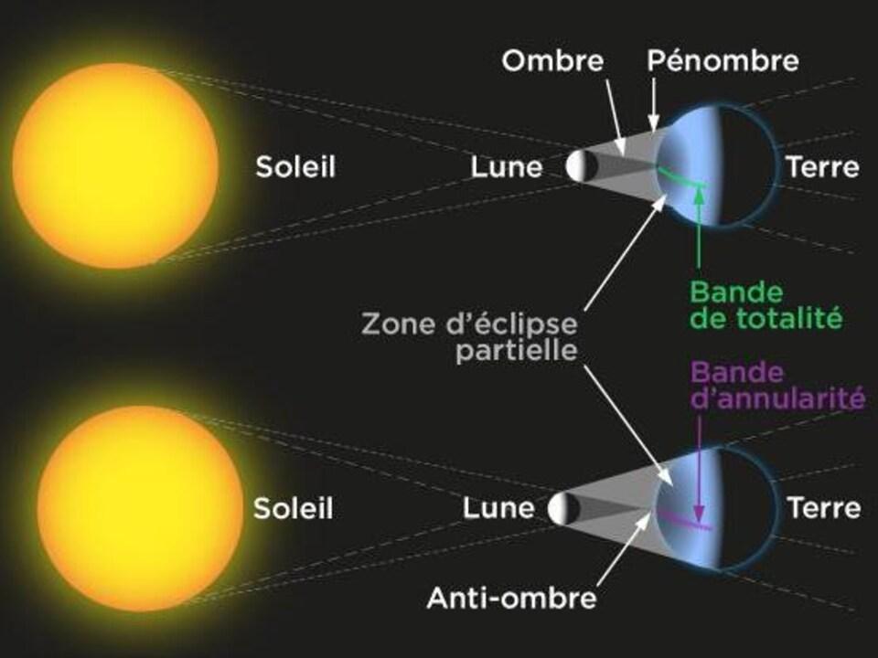 Illustration comparant une éclipse totale et une éclipse annulaire.