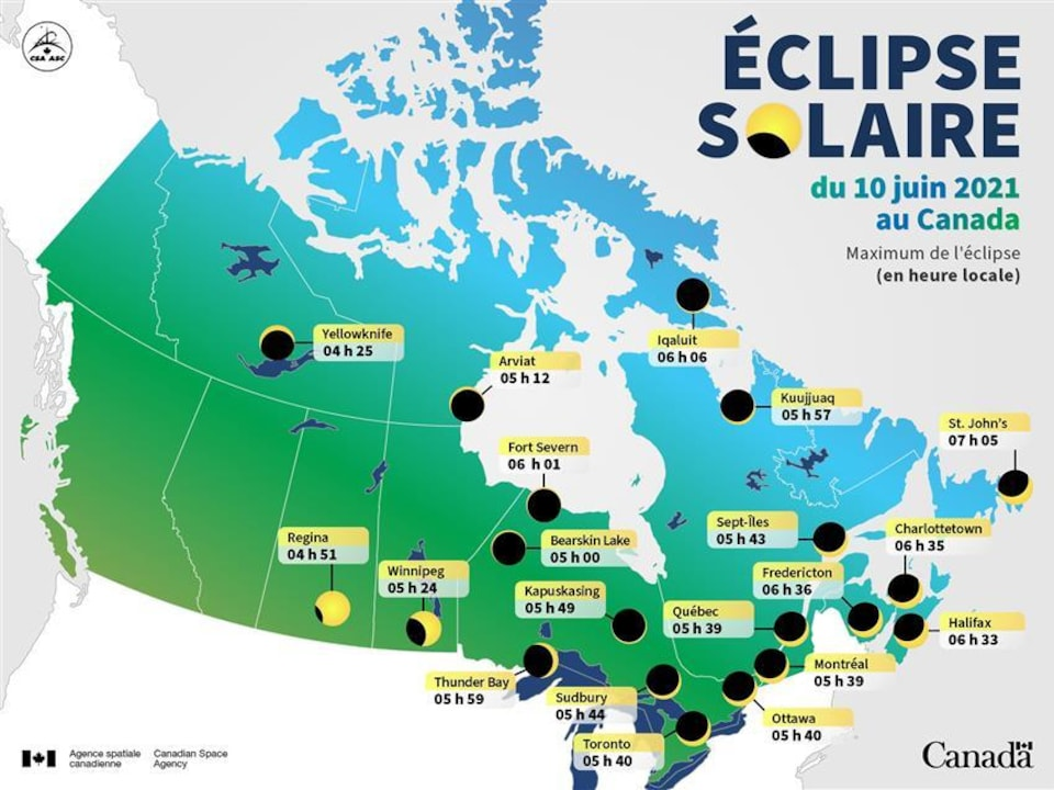 Tableau montrant l'heure du maximum de l'éclipse dans différentes villes canadiennes.