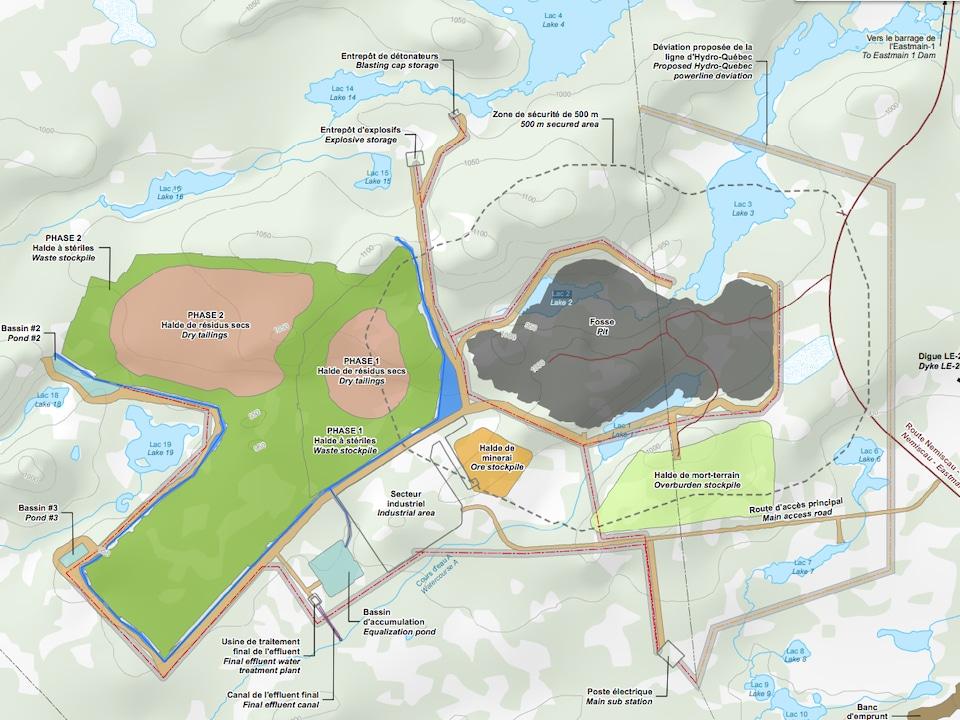 Plan du complexe industriel et minier projeté sur une carte.