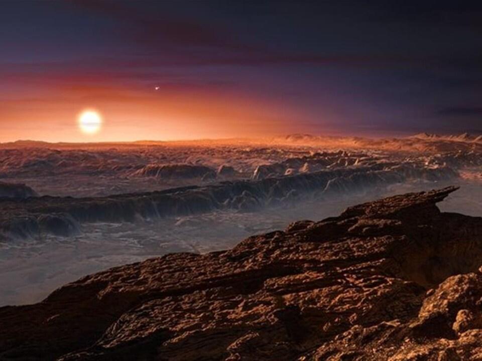 Représentation artistique de l'exoplanète Proxima B.