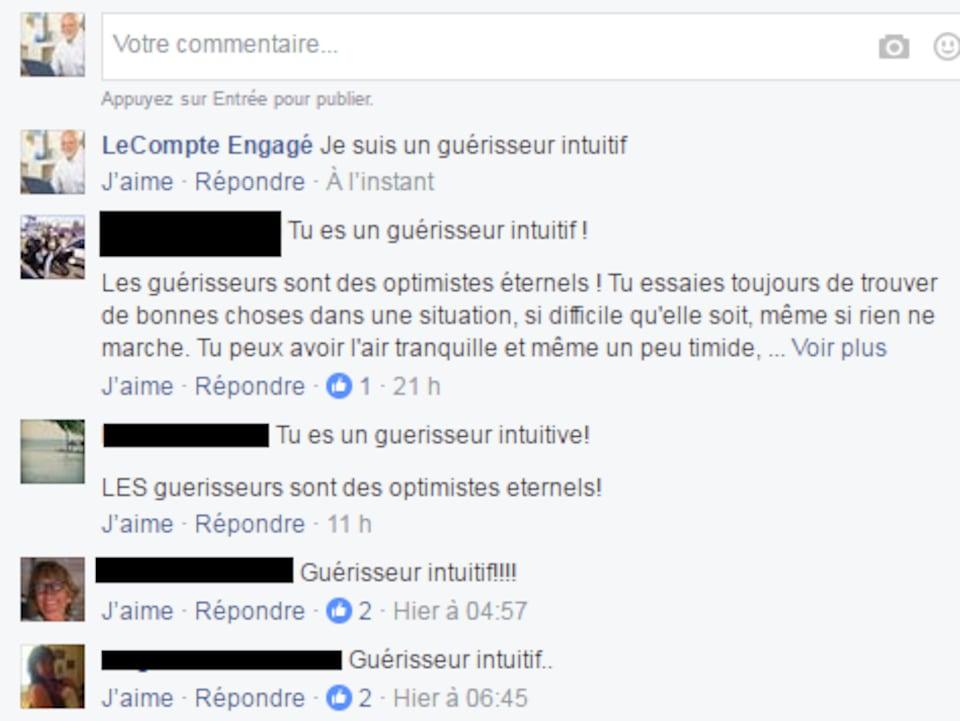 Capture d'écran de commentaires sur une page Facebook. On voit que cinq personnes ont obtenu le résultat «guérisseur intuitif» lors d'un quiz en ligne.