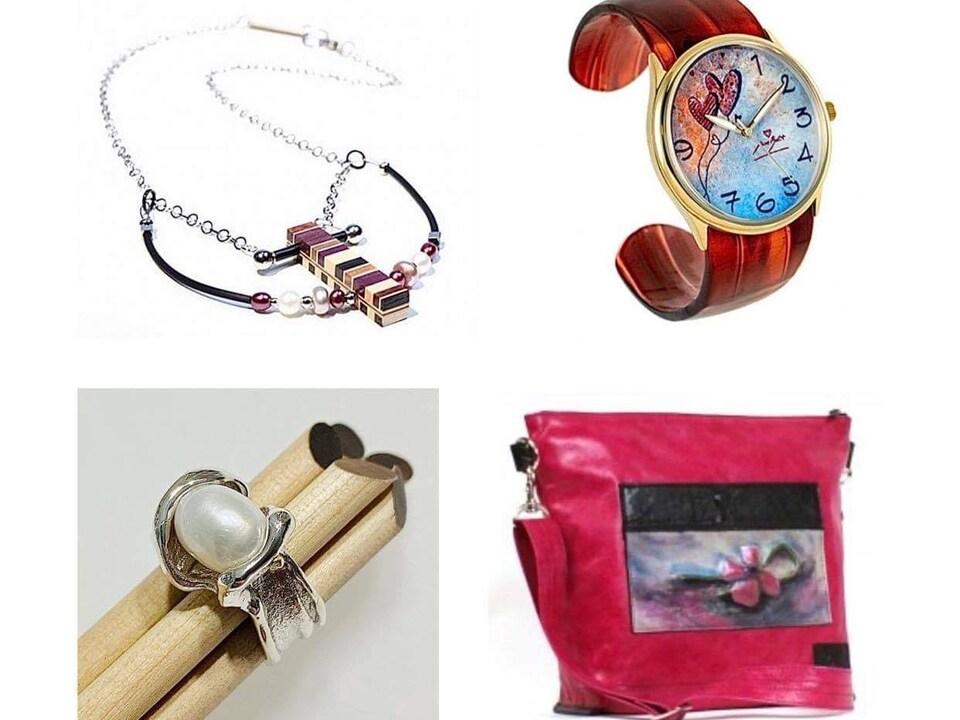 Des bijoux, une montre et un sac à main.