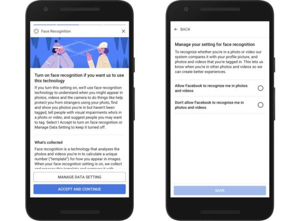 Les écrans demandant l'accord des utilisateurs pour activer la reconnaissance faciale.