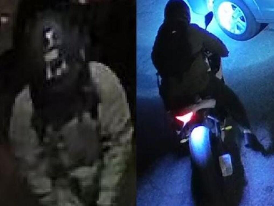 Capture d'écran d'une vidéo de surveillance de très mauvaise qualité montrant un homme portant un casque de moto et une autre image montrant l'homme sur une moto.