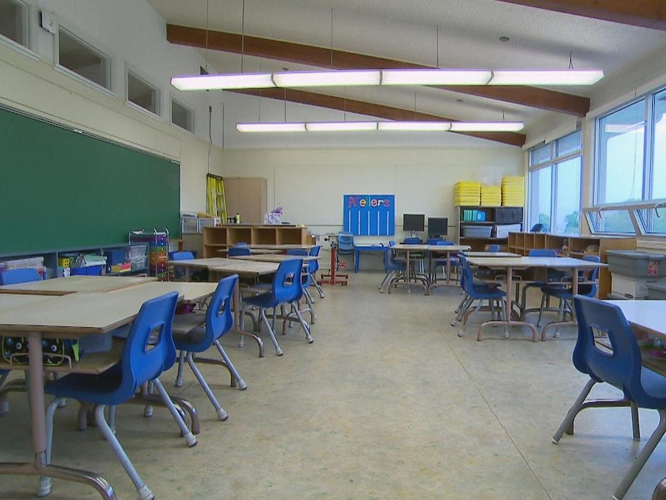 Une classe de l'école du Grand-Voilier avant des travaux de rénovation.