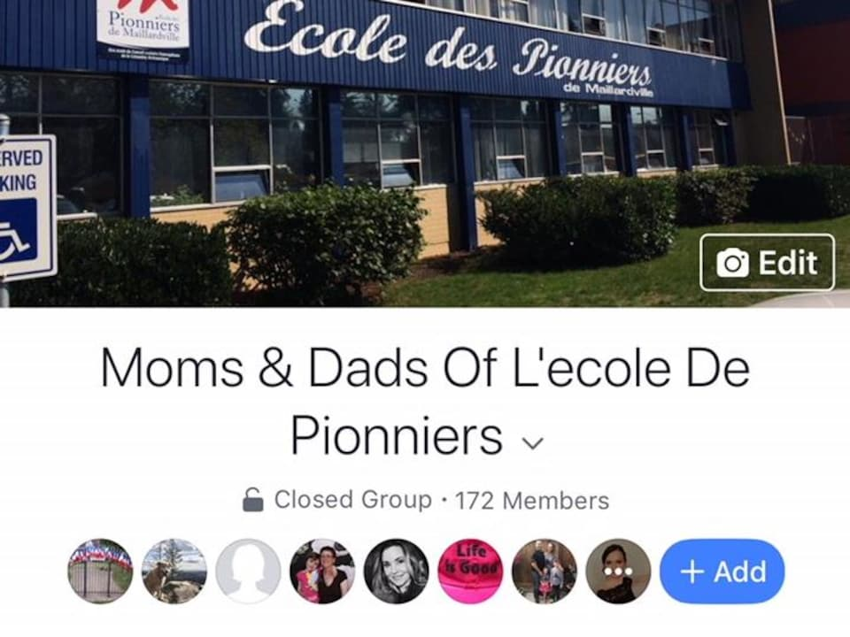 Capture d'écran de la page Facebook intitulée Moms and Dads Of l'ecole De Pionniers.