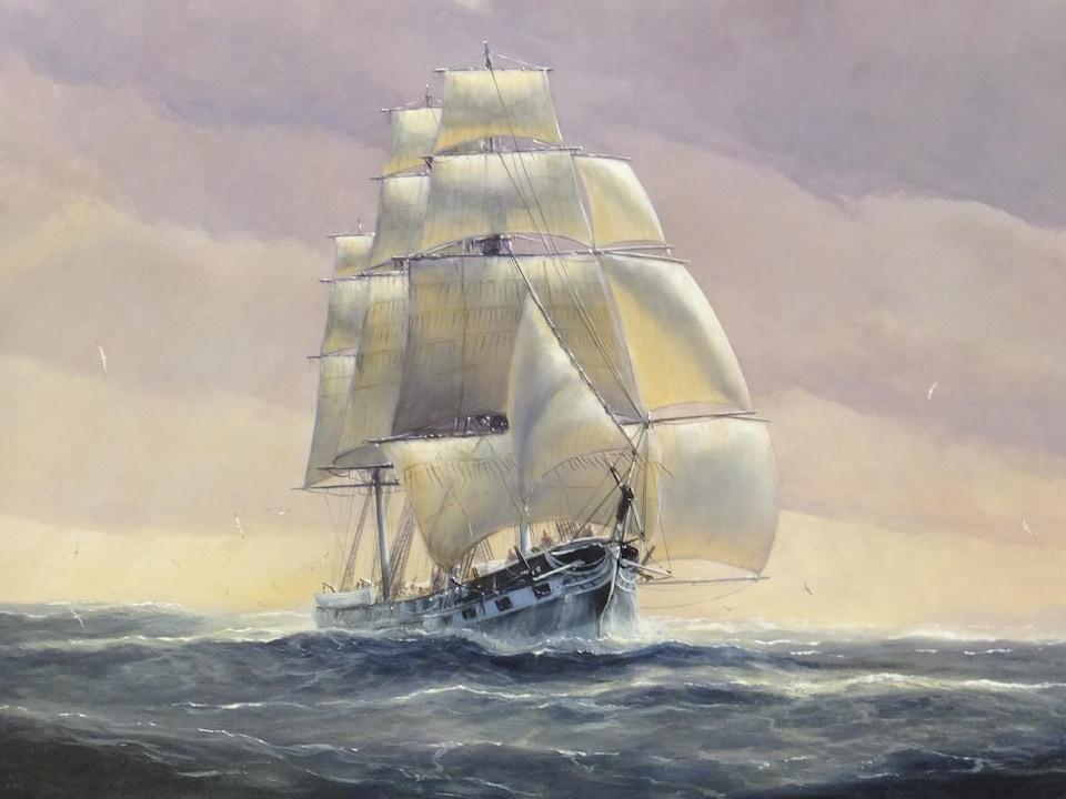 Peinture représentant le bateau voguant sur l'eau.