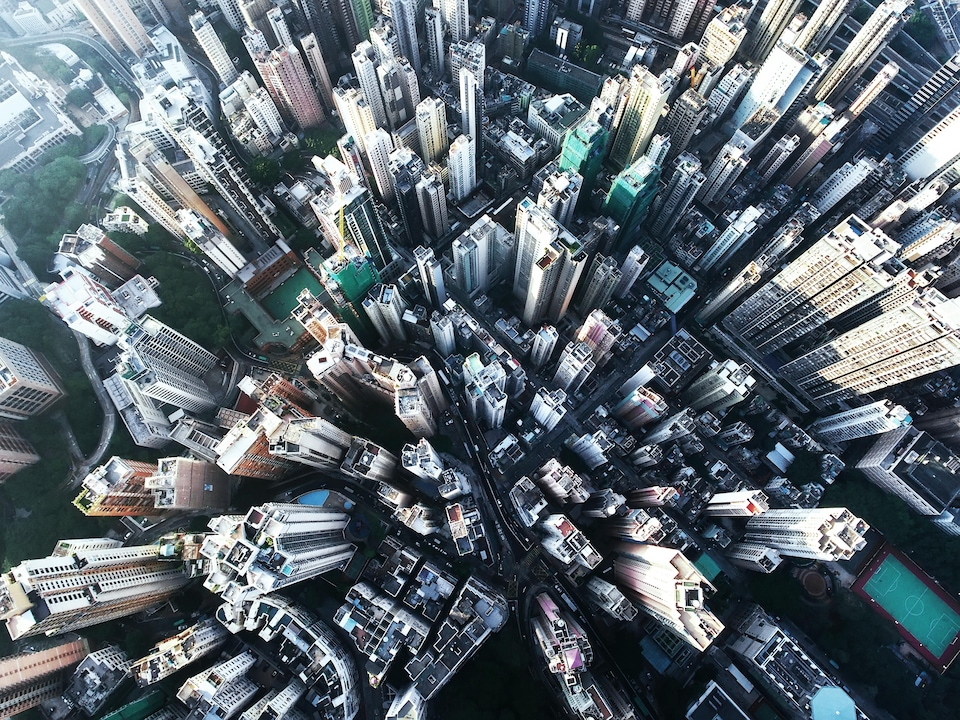 Vue aérienne de la ville d'Hong Kong.