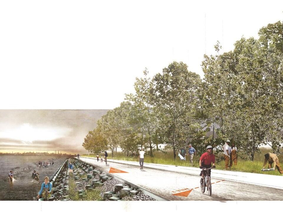 Le projet de digue récréative de Hunts Point, dans le sud du Bronx, à New York.