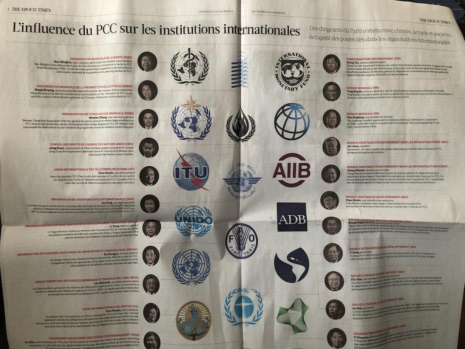 Le spread du journal The Epoch Times montrant l'influence du PCC sur les institutions internationales.