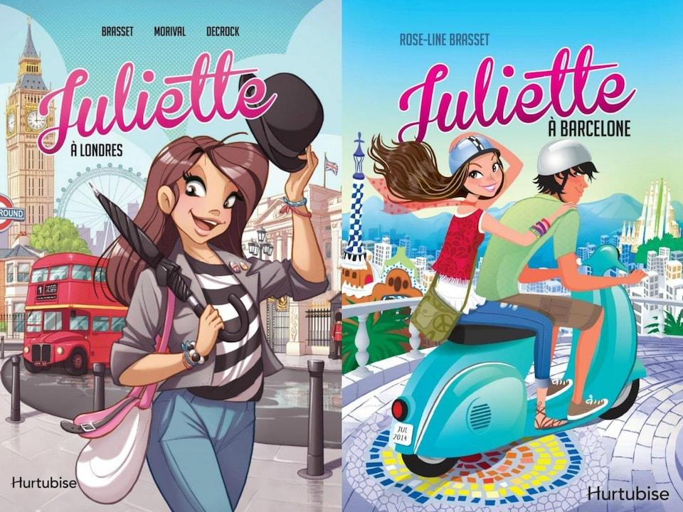 La couverture de la plus récente aventure de Juliette en bande dessinée à Londres à gauche. Celle du roman publié en 2014 sur les aventures de la voyageuse à Barcelone.