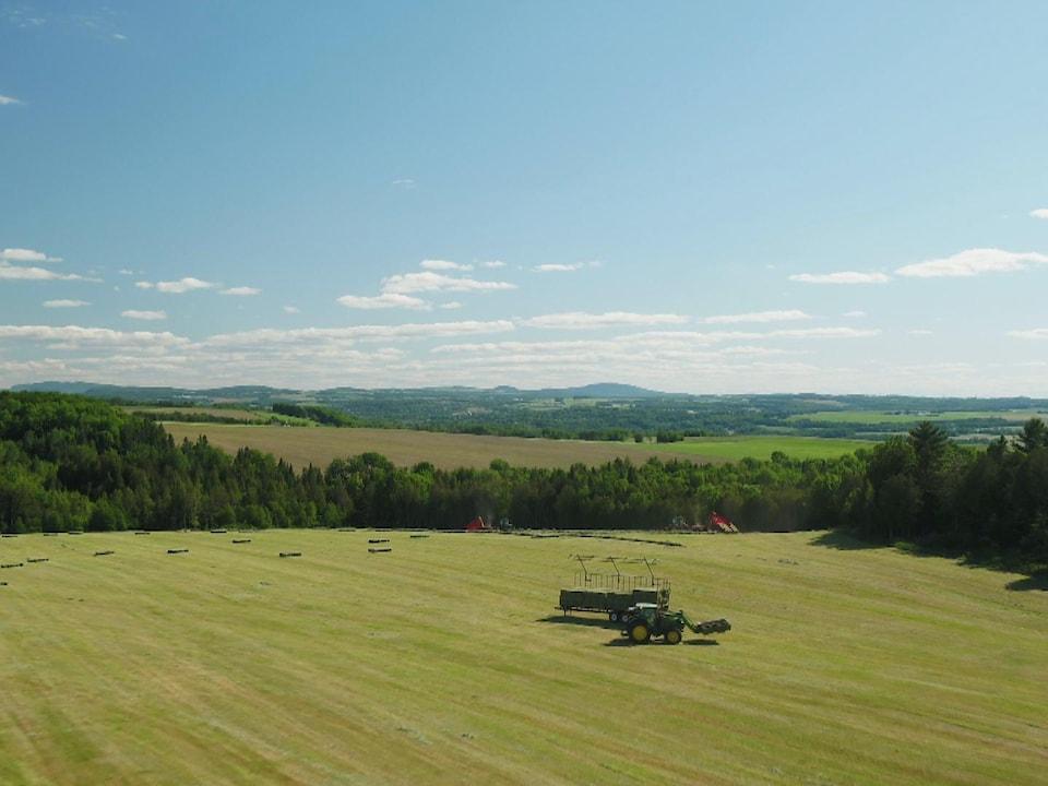 Paysage en vue aérienne et travaux de ramassage des bottes de foin dans un champ agricole.