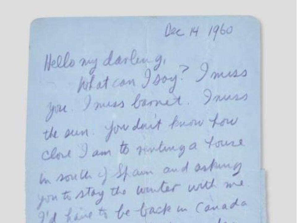 Le message, écrit en anglais, commence par « Bonjour ma chérie. Que puis-je dire? Tu me manques. »