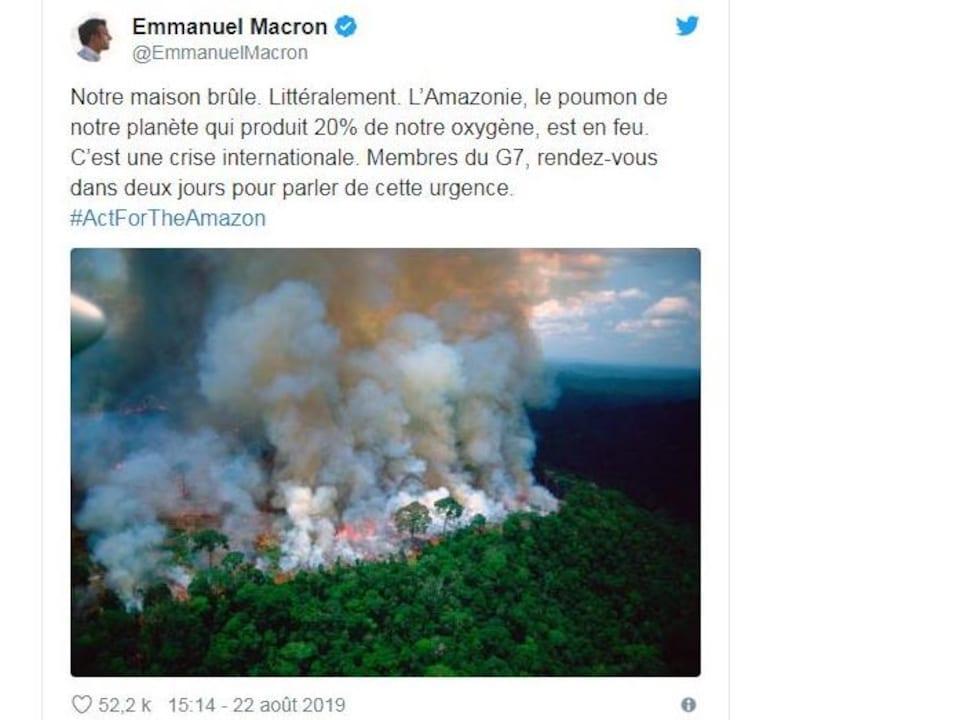 Gazouillis du président Macron sur les feux de forêt en Amazonie.