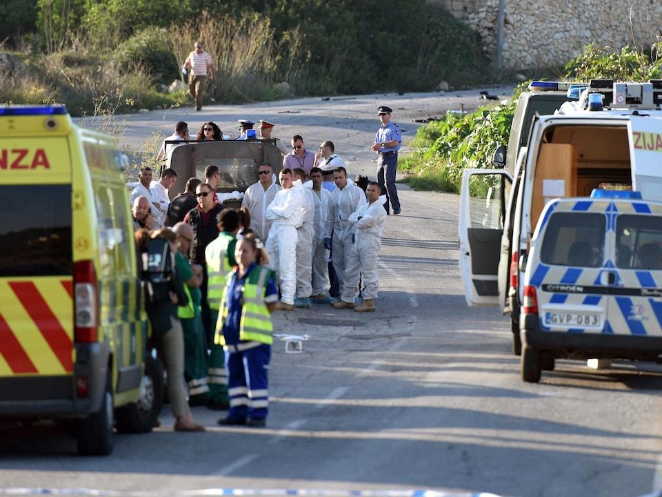 À Malte, les lieux de l'explosion du véhicule de la journaliste Daphne Caruana Galizia.