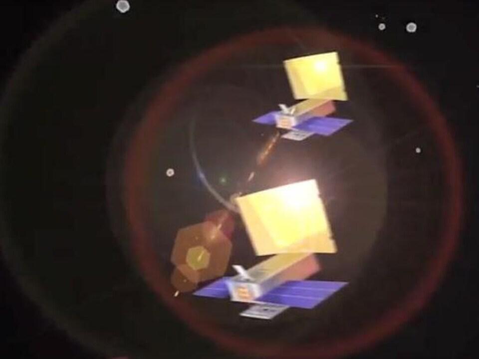 Les CubeSats MarCO-A et MarCO-B servent de relais de télécommunications entre la Terre et InSight.