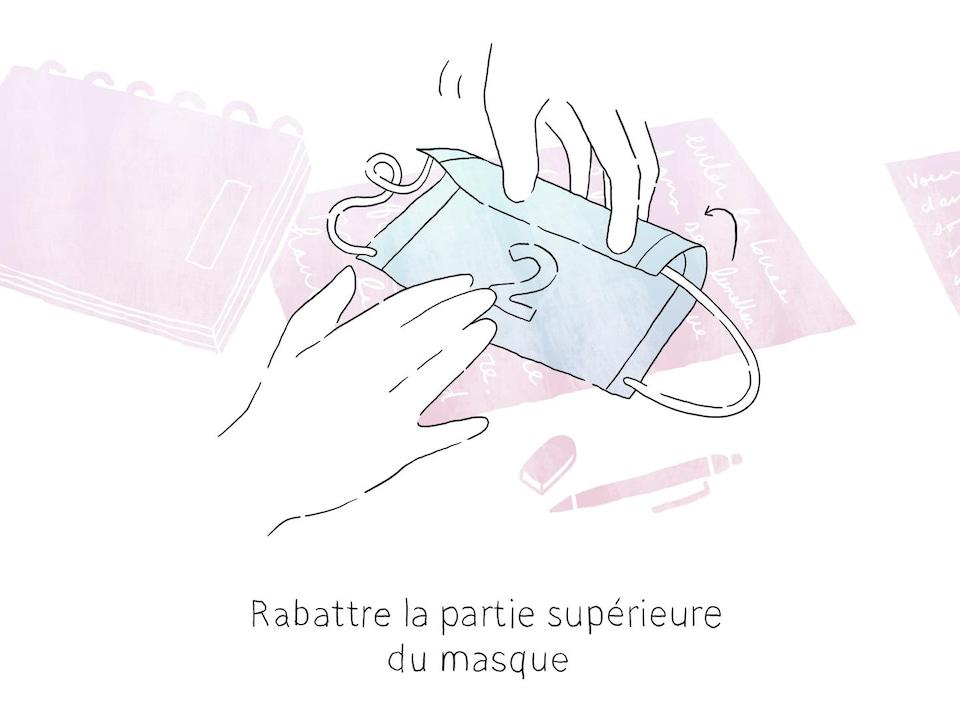 Illustration qui montre comment replier le rebord supérieur du masque pour améliorer l'étanchéité.