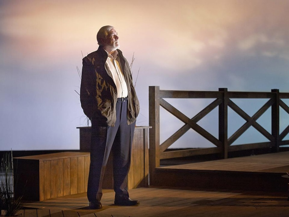 Michel Dumont, standing with his hands in his pockets, looks into the distance on a theater stage.