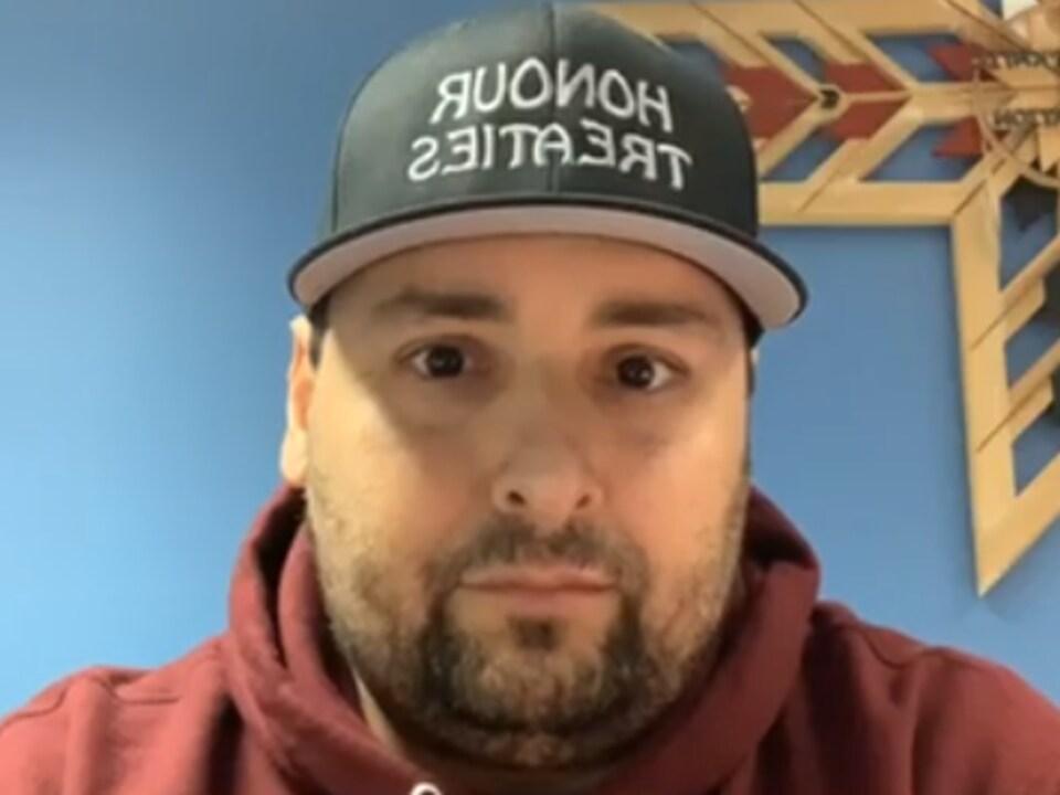 Le chef de la communauté micmaque de Sipekne'katik, Mike Sack, dans une vidéo diffusée sur Facebook.