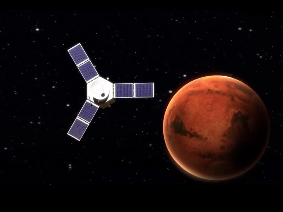 Illustration montrant la sonde Hope en orbite autour de Mars.