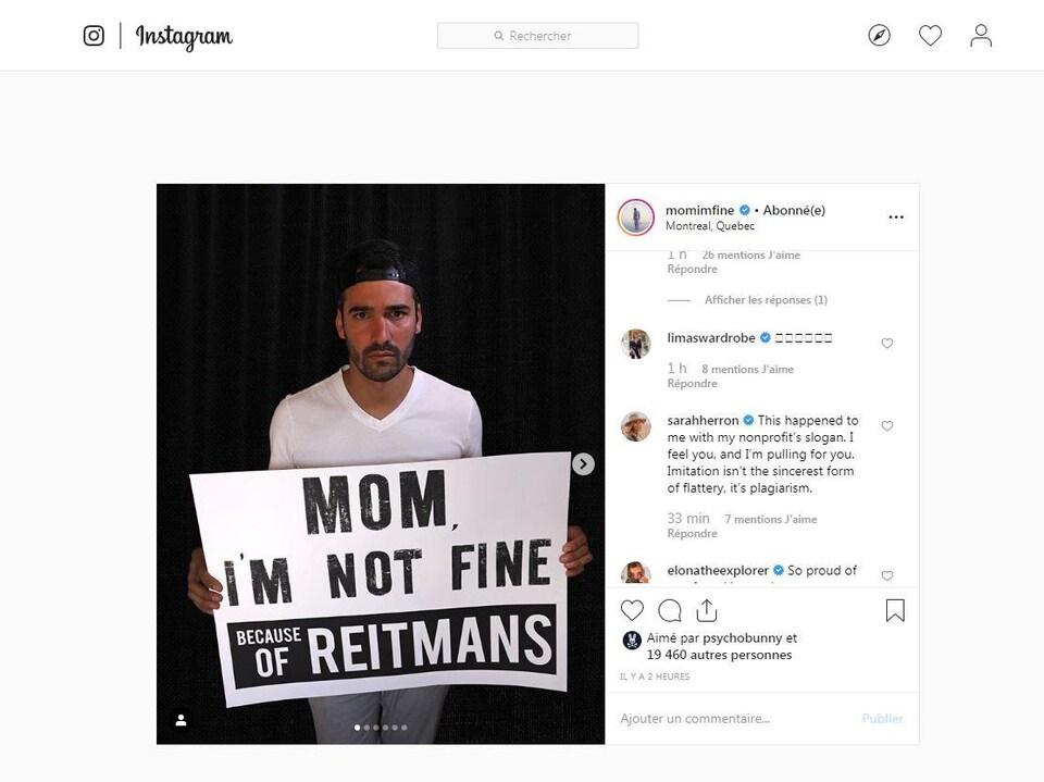 Une capture d'écran de la publication Instagram de Jonathan Kubben.