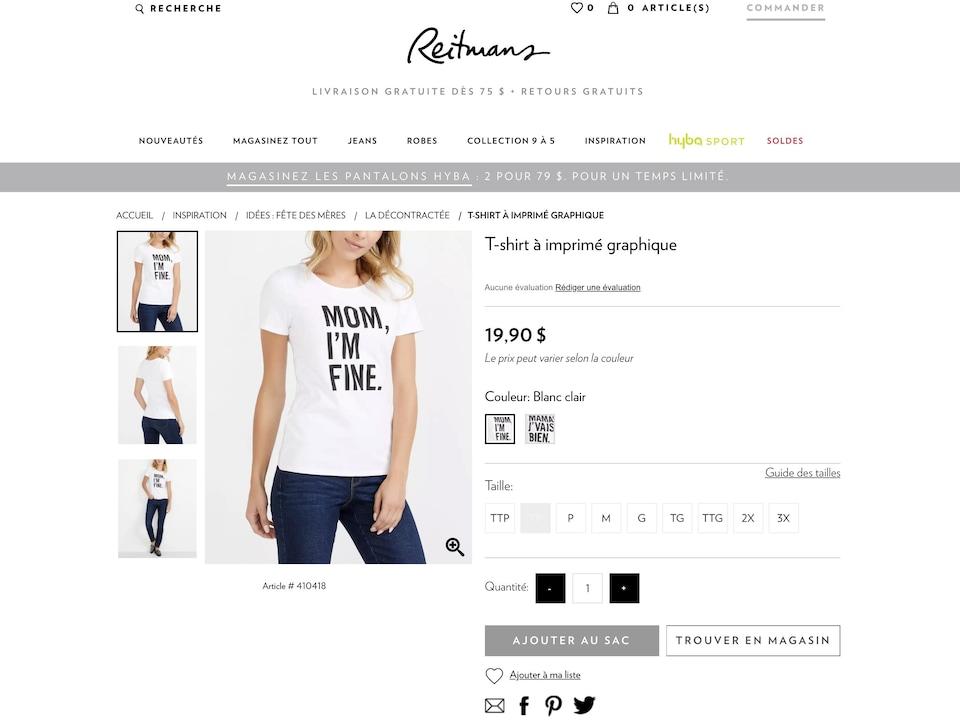 Une page Web avec 4 vues différents d'un T-shirt sur une mannequin.