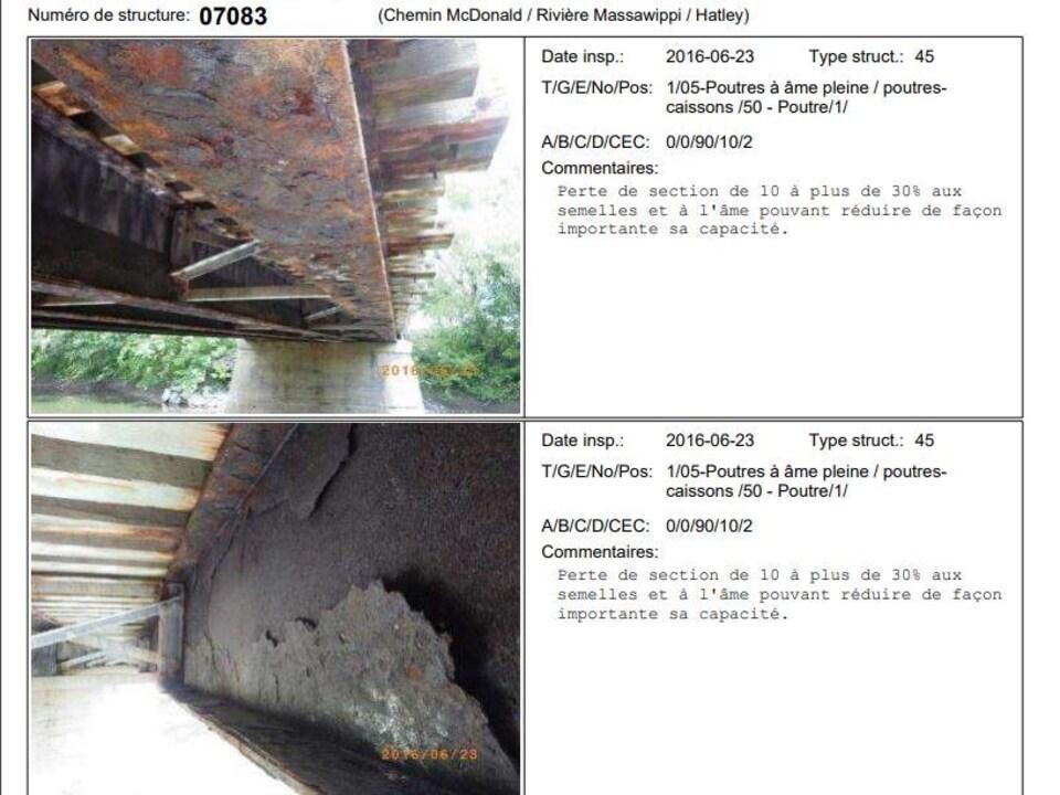 Des images de la structure du pont MacDonald, qui montre d'importantes traces de corrosion.