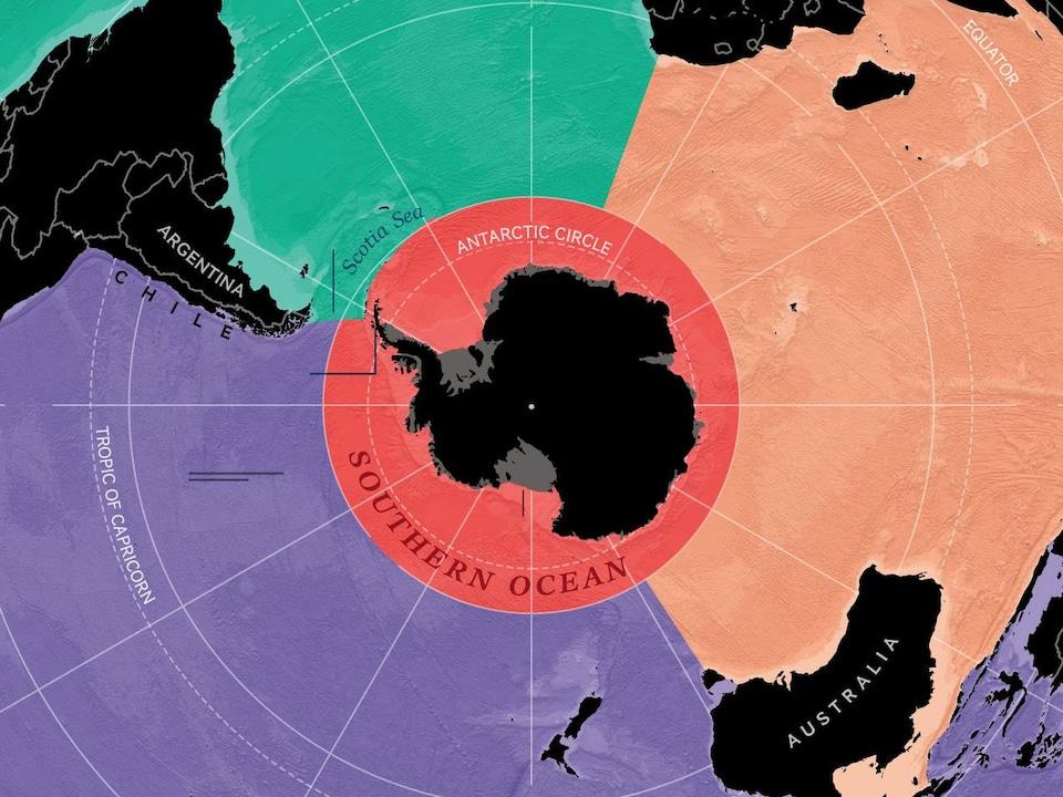 Carte illustrant le nouvel océan Austral.