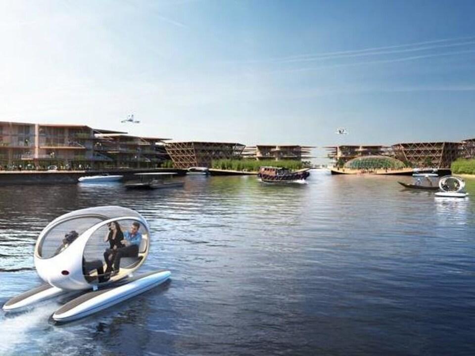 Illustration de la ville flottante Oceanix.