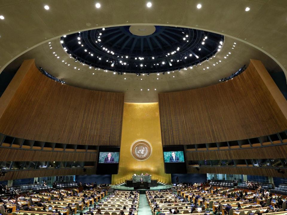 Vue générale de l'Assemblée générale des Nations unies au siège de l'ONU à New York, États-Unis, le 1er octobre 2018.