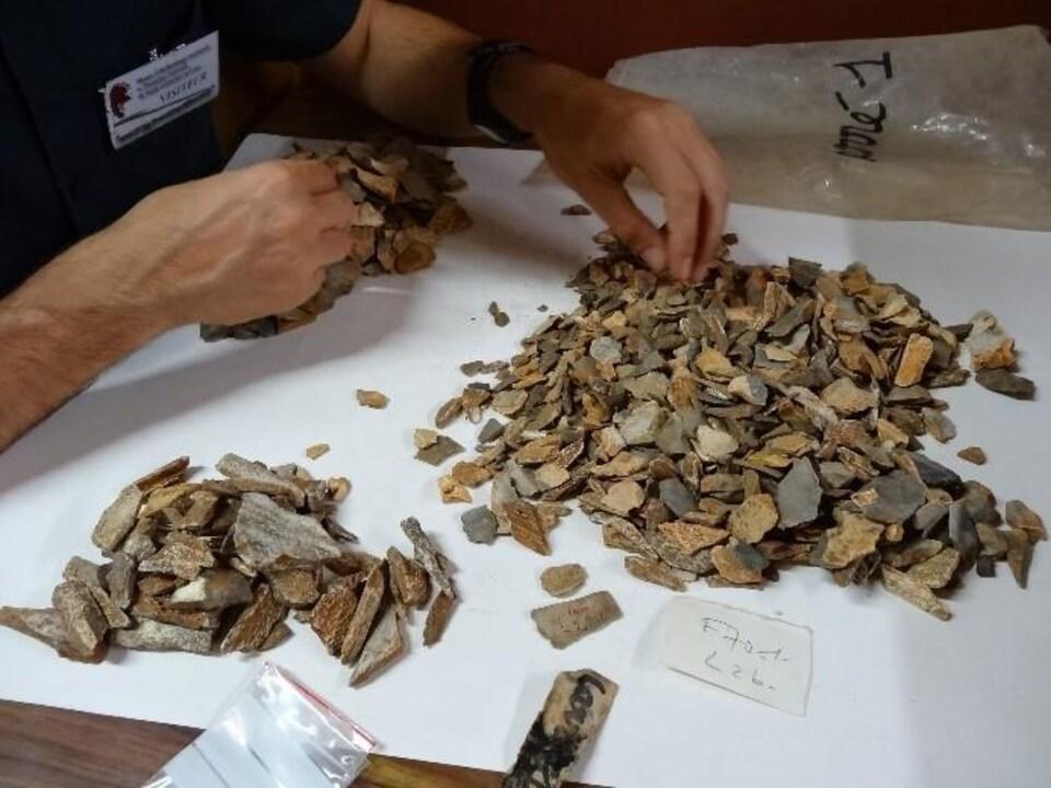 Un homme cherche dans les caisses issues des fouilles des années 1970.