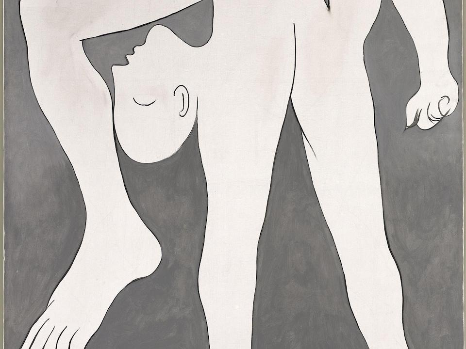 Peinture du corps d'un homme dont les membres sont déformés.