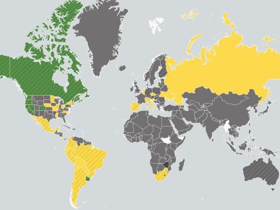 Carte montrant les États qui ont légalisé le cannabis.