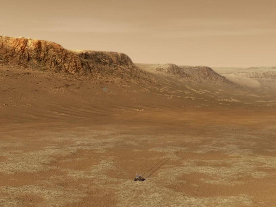 Illustration du rover sur Mars.