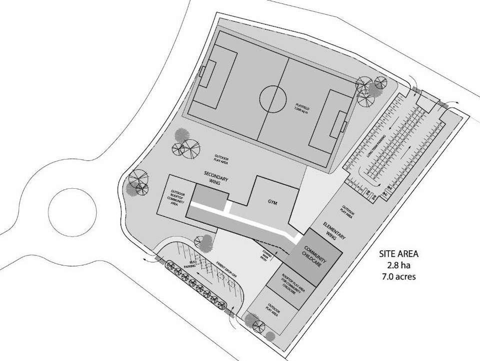 Un plan de l'école proposée.