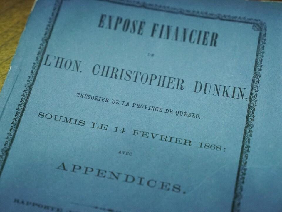L'exposé financier a été soumis par Christopher Dunkin, trésorier de la province de Québec, le 14 février 1868.