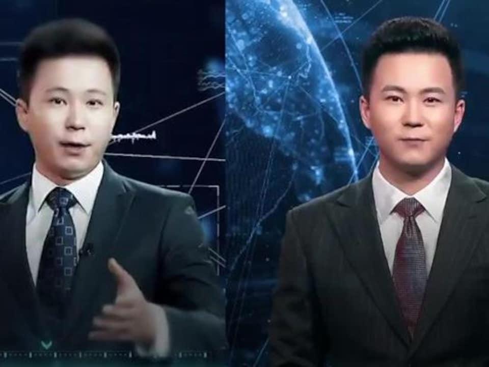 Le présentateur virtuel (à droite) et le véritable lecteur de nouvelles (à gauche).