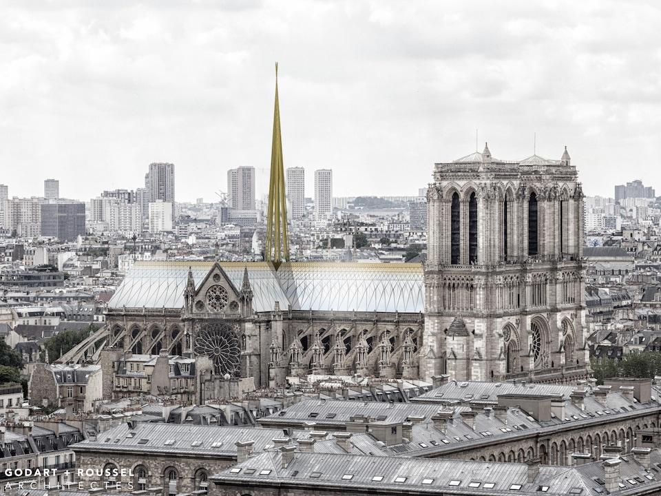 On voit Notre-Dame imaginée avec un nouveau toit et une nouvelle flèche.