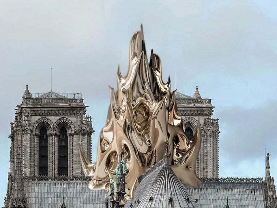 On voit une grande flamme métallique imaginée sur le toit de Notre-Dame.
