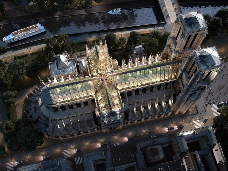On voit, en plongée, Notre-Dame imaginée avec un nouveau toit et une nouvelle flèche.