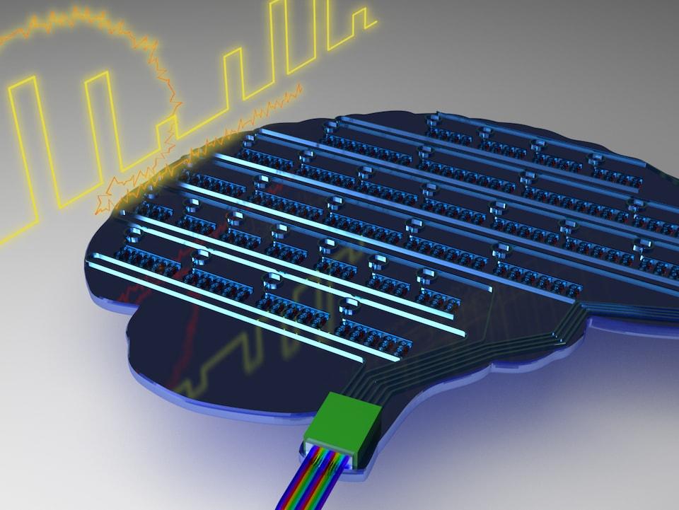 Illustration d'une puce informatique prenant la forme du cerveau humain.